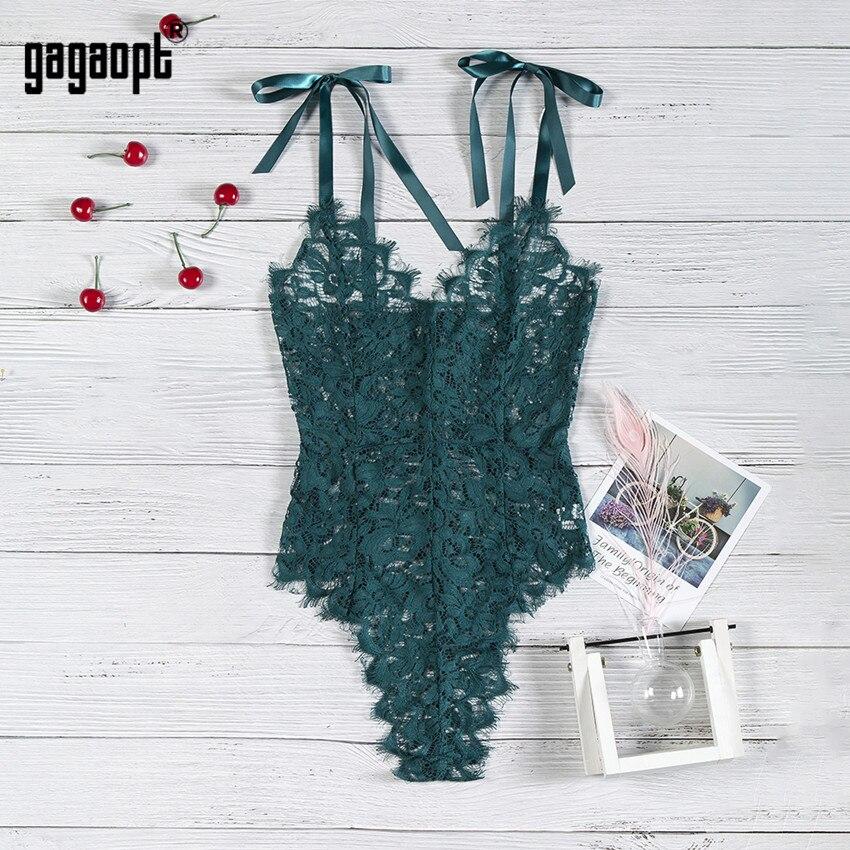 Gagaopt 5 Colors Lace Bodysuit Women Floral Embroidery Elegant Bow Ladies Sexy Bodysuit Jumpsuit Overalls Sleepwear