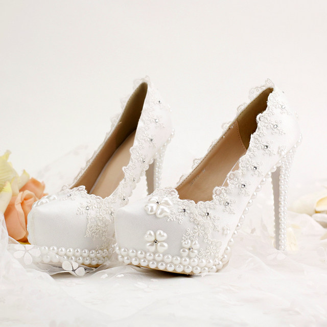 Korean Rhinestones Bridal Shoes White Lace Wedding Spring Lady High Heels Beautiful Bridesmaid Party Prom Pumps