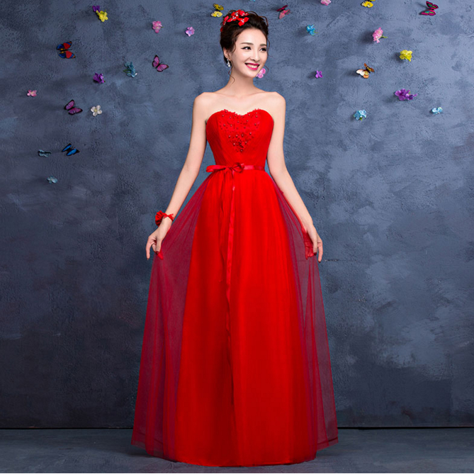 Popular Strapless Red Prom Dress-Buy Cheap Strapless Red Prom ...