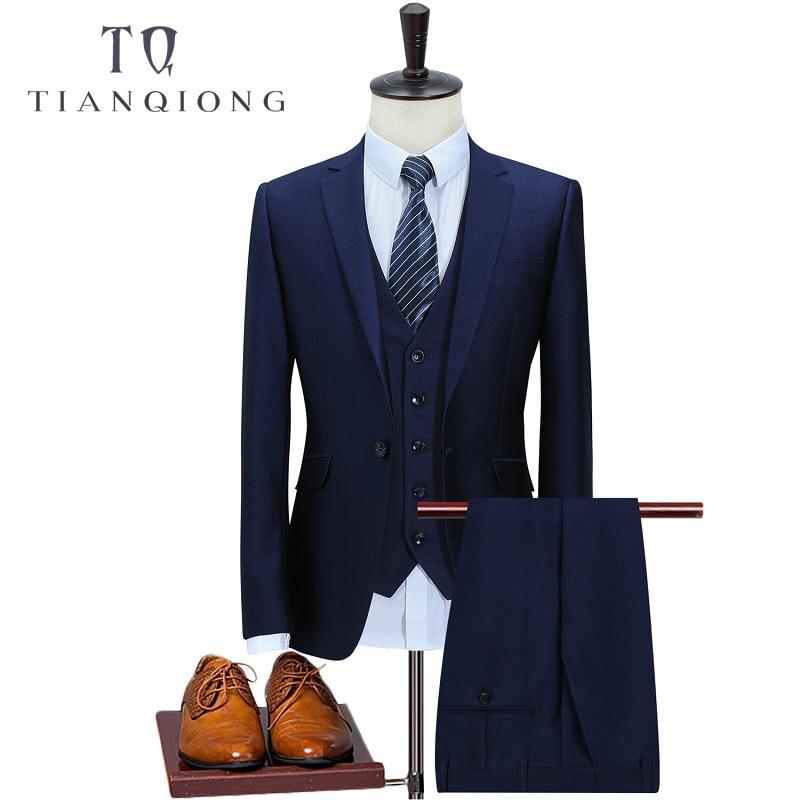 TIAN QIONG 2018 (Jacket+Vest+Pants)Men's Business Wool Suit Men Casual High Quality Single Button Wedding Mens Suits with Pants