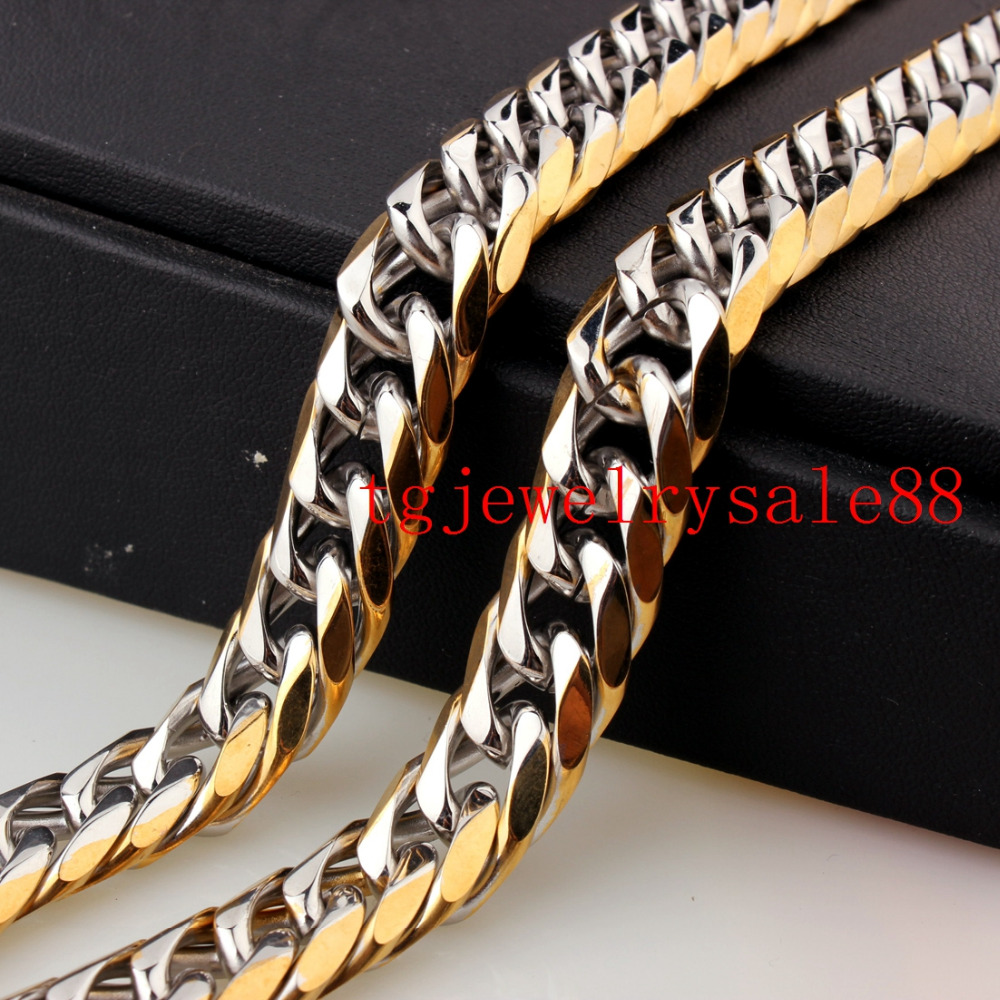 7-40inch Free Choose New Design Double Cuban Link Chain Bracelet Or Necklace Stainless Steel Cool Mens Gift 13mm Silver Gold
