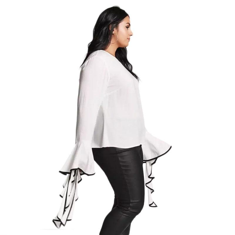 87e0fccf6b1fa5 Lazy KoKo Plus Size Bell Sleeve Top Fashion White Blouse O Neck Women Shirts  Winter Autumn Long Sleeve Shirt 3XL 4XL 5XL 6XL-in Blouses & Shirts from ...