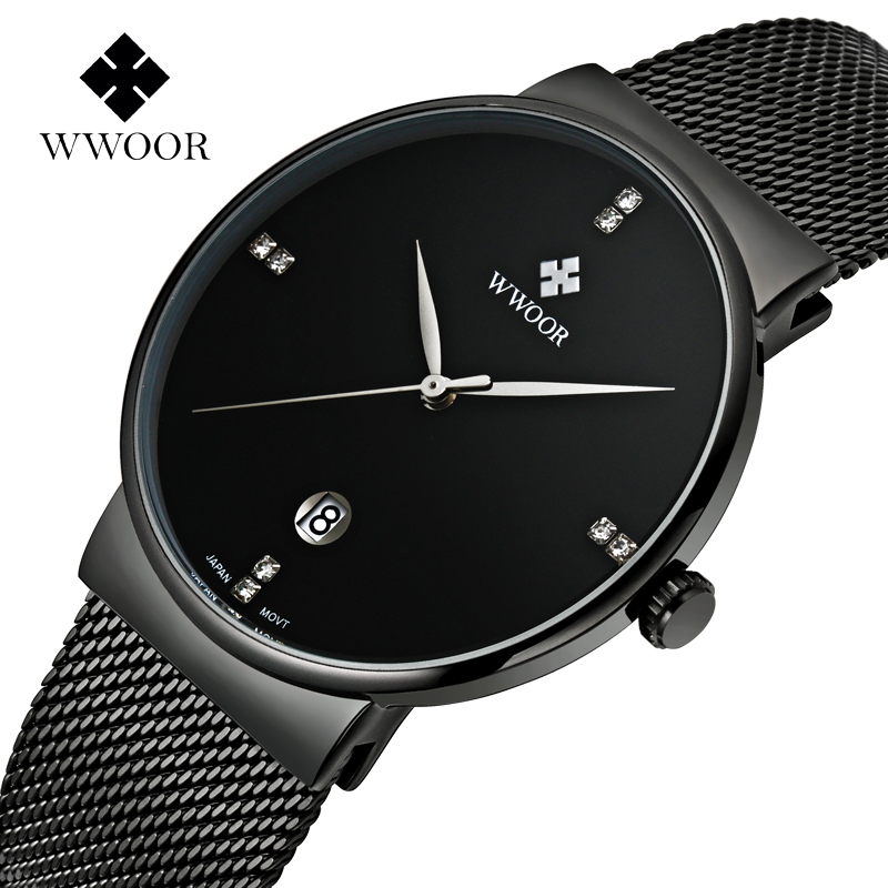 Fashion Simple Stylish Luxury brand WWOOR Watches Men Stainless Steel Mesh Strap Thin Dial Clock Man Casual Quartz-watch Black fashion simple stylish luxury brand crrju watches men stainless steel mesh strap thin dial clock man casual quartz watch black