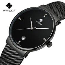 Moda Elegante Simple WWOOR Relojes Hombres Lujo de la marca Correa de Malla Fina de Acero Inoxidable Dial Reloj de Hombre reloj de Cuarzo Ocasional negro