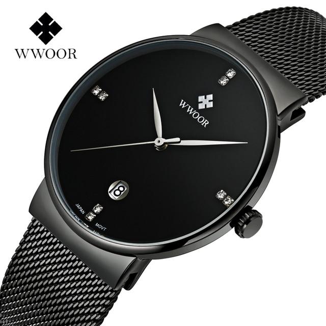 Fashion Simple Stylish Luxury brand WWOOR Watches Men Stainless Steel Mesh Strap Thin Dial Clock Man Casual Quartz-watch Black
