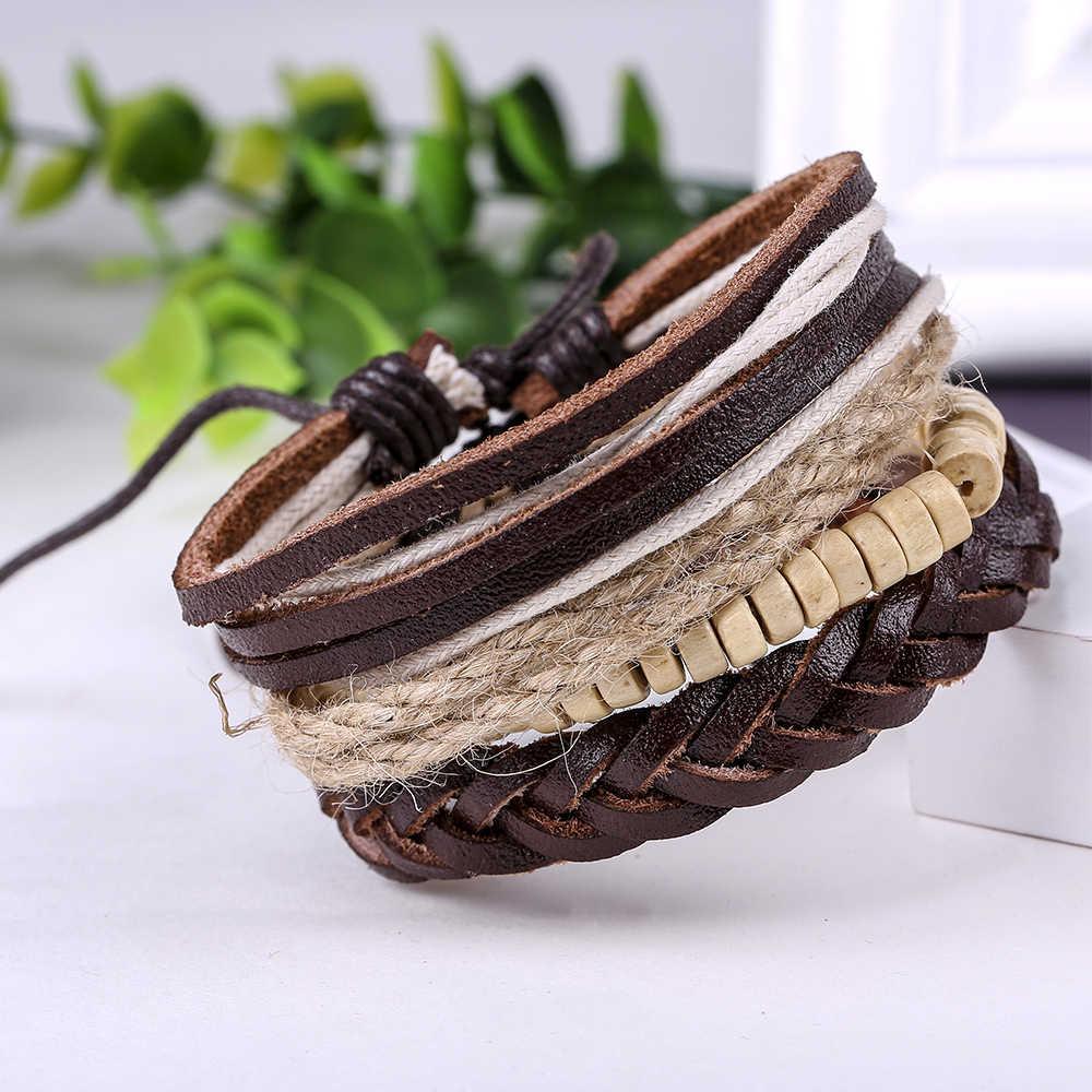 4 יח'\סט אופנה בציר עץ חרוז בעבודת יד פאנק פשוט קסם נשי פאטאל Homme זכר גברים עור צמיד לנשים תכשיטים