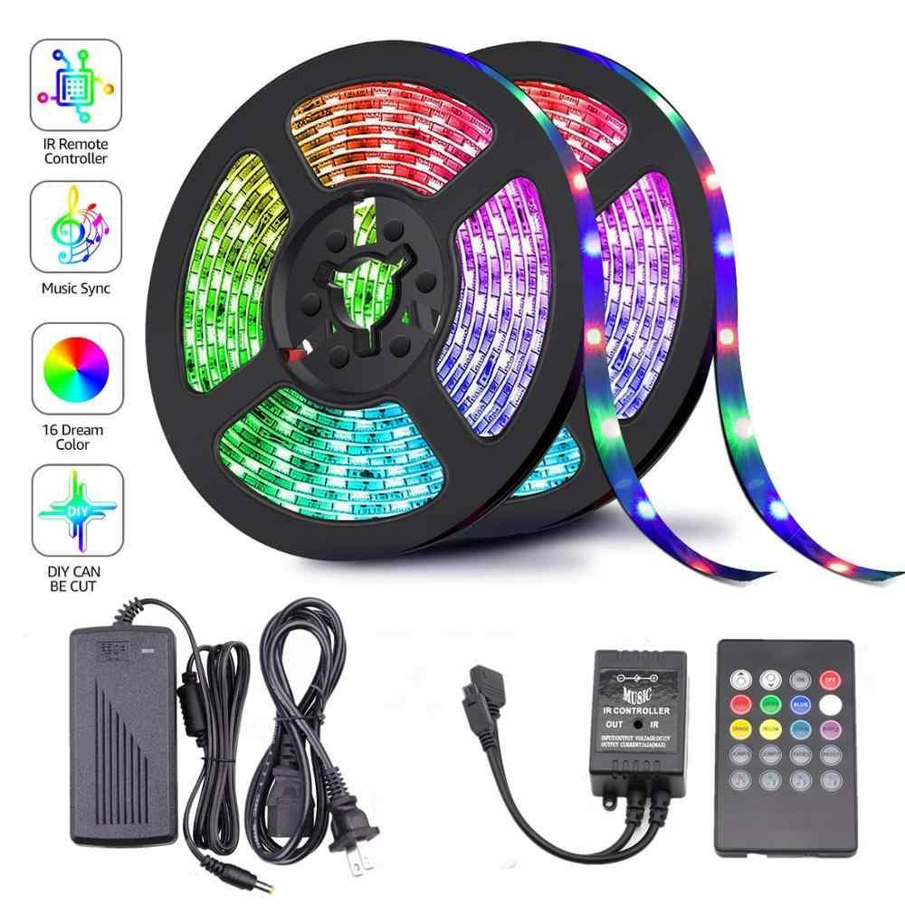 1M 5M 10M 15M 5050 RGB LED Strip Sync Musik untuk Liburan Dekorasi Pesta Ulang Tahun DC 12V 150 LED 300 LED LED Tali Pita Ribbon