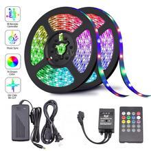 1M 5M 10M 15M 5050 RGB LED Strip Sync Naar Muziek Voor Vakantie Verjaardagsfeestje Decoratie DC 12V 150leds 300leds LED Touw Tape Lint