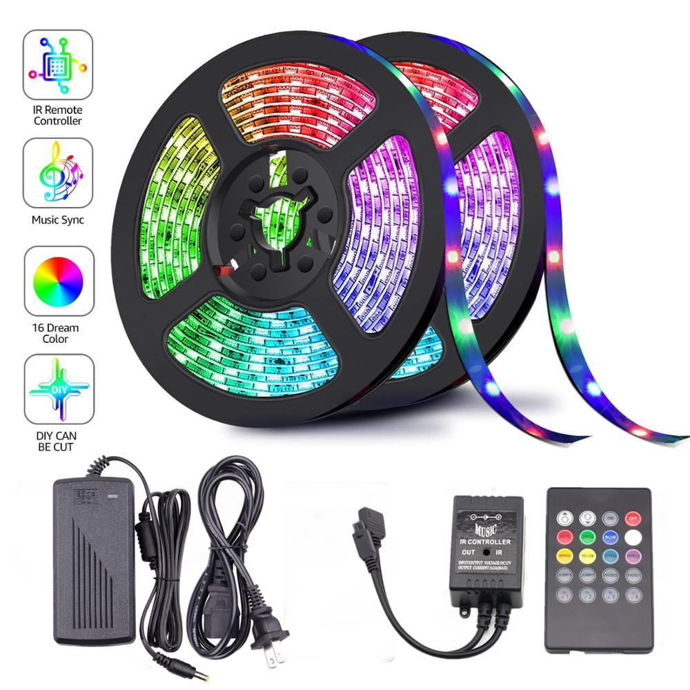 1M 5M 10M 15M 5050 RGB LED Strip Sync To Music For Holiday Birthday Party Decoration DC 12V 150leds 300leds LED Rope Tape Ribbon