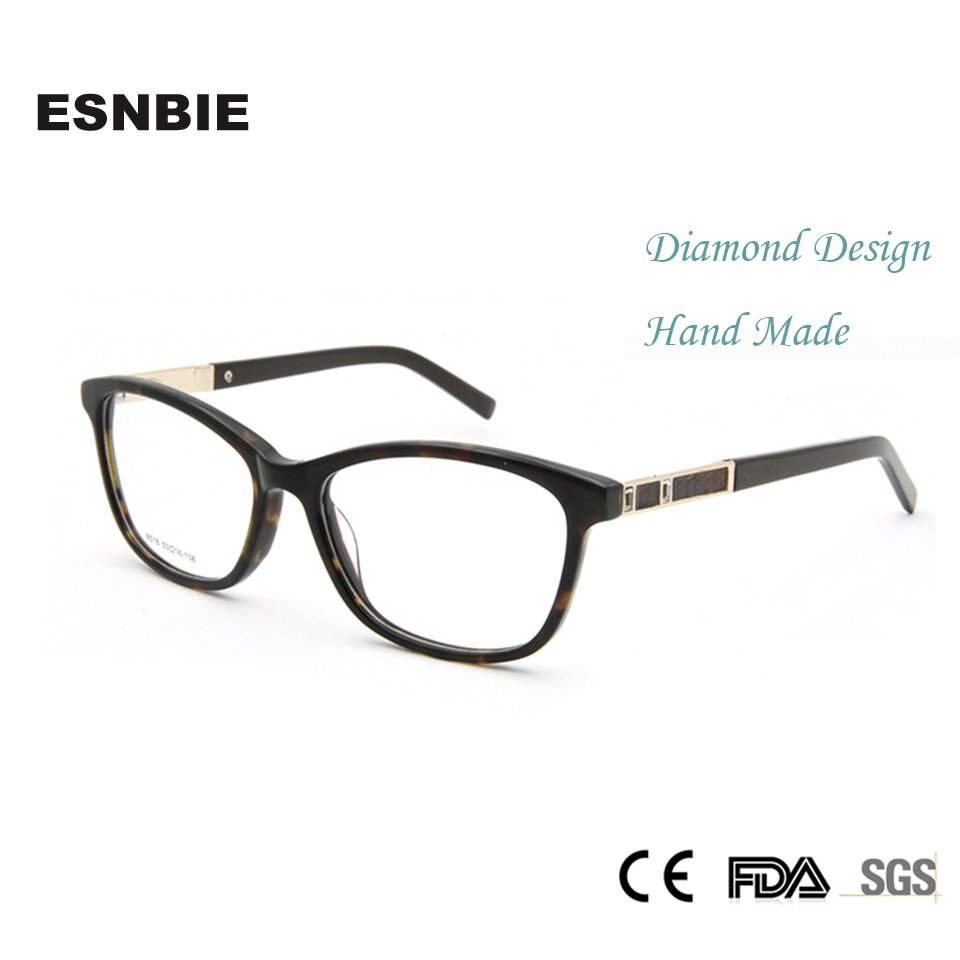 ESNBIE Vysoce kvalitní sexy dámské brýle rámečky drahokamu luxusní Burgundsko brýle rámy žena brýlový rámeček v čirém objektivu