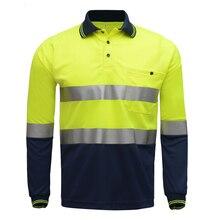 Hi Viz Safety Work polo shirt reflective High Visibility Long Sleeve Polo workwear Shirt free shipping