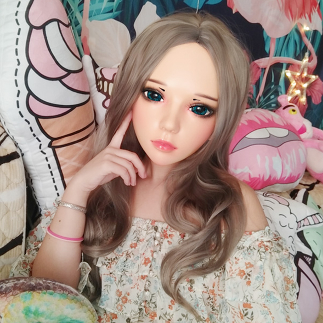 (Ling-05)Female Sweet Girl Resin Half Head Kigurumi Mask With BJD Eyes Cosplay Japanese Anime Role Lolita Mask Crossdress Doll