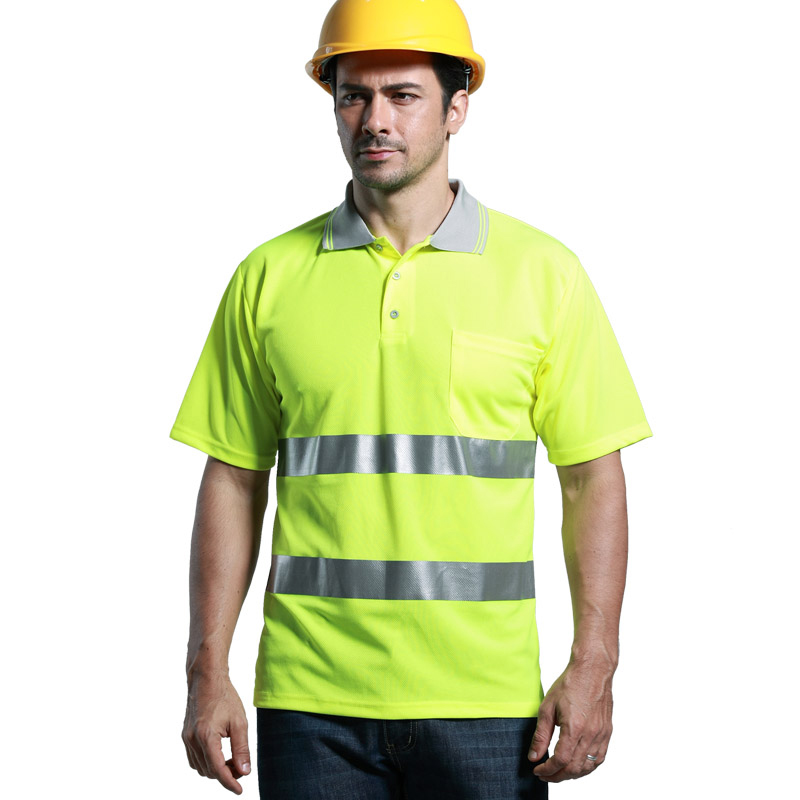 Reflective security work t-shirt men summer high visibility with short sleeves for working outdoor at night classic plaid pattern shirt collar long sleeves slimming colorful shirt for men