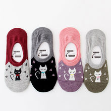 Ankle Sock Warmer School Students 1 Pair Women Cotton SocksCat Character Print Women's Winter Socks Funny Various Color Hot Sale(China)