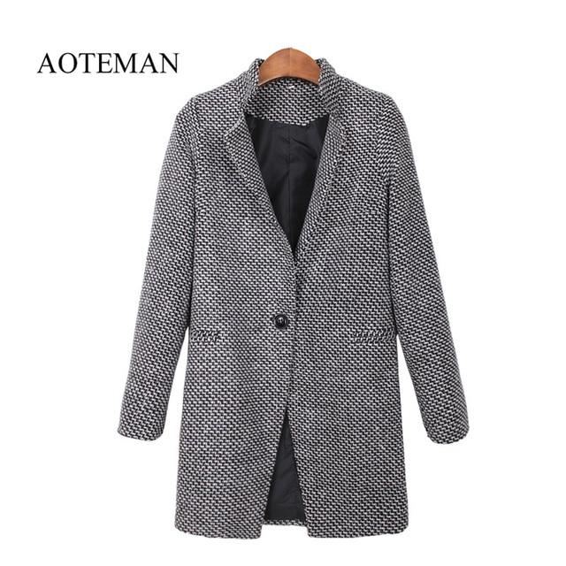4dcda7908f2 AOTEMAN 2019 Autumn Winter Women Coat Fashion Casual Coat Female Elegant  Jackets Long Sleeve Blazer Outwear