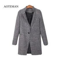 AOTEMAN 2019 Autumn Winter Women Coat Fashion Casual Coat Female Elegant Jackets Long Sleeve Blazer Outwear Tops Plus Size 4XL