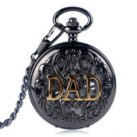 Fob Hand Winding Vintage Gift Hollow Pocket Watch Exquisite Fashion Necklace Black Mechanical Men Golden DAD