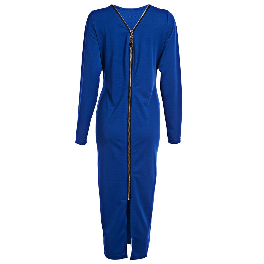 VESTLINDA Plus Size Robe Sexy Femme Midi Sheath Bodycon Dress Long Sleeve Elegant Dresses Women Back Zipper Pencil Tight Dress 15