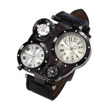 Chic Dual Movement 4 Dials Men Watch Outdoor Waterproof Compass Quartz Wrist Watch цена
