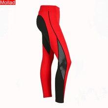 b665bee220da2 MOLLAD Red And Black Love Mesh Spell Mosaic Breathable Slim Female Leggings  Splice Fitness Leggings(