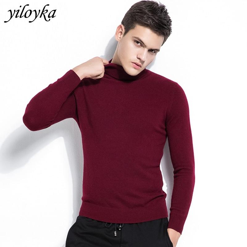 New Autumn Winter Cashmere Sweater Men Turtleneck Men Pullover Long Sleeve Warm Men's Sweater Wool Knitwear Sweaters For Men