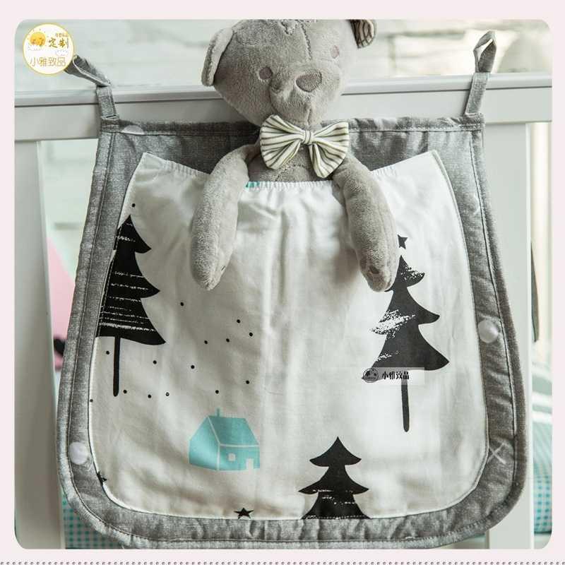 30*33 cm bolsa de almacenamiento colgante de cuna bebé cama juguetes organizador de pañales de algodón gran bolsillo para ropa de cama de bebé cuna Accesorios