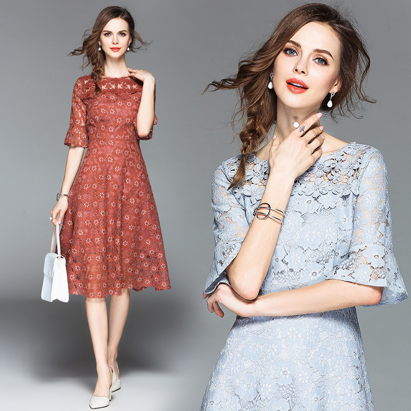 Makuluya Special Hollow Out Lace Women Dresses O-Neck Collar Three Quarter Sleeve Summer Dresses Flare Sleeve OL A Dresses QW86