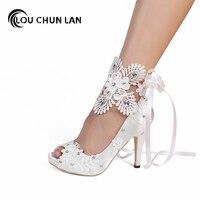 LOUCHUNLAN Dress Shoes Women Pumps Open toe lace wedding shoes Peep Toe Elegant Stain Riband High Heels large size 41 42 43