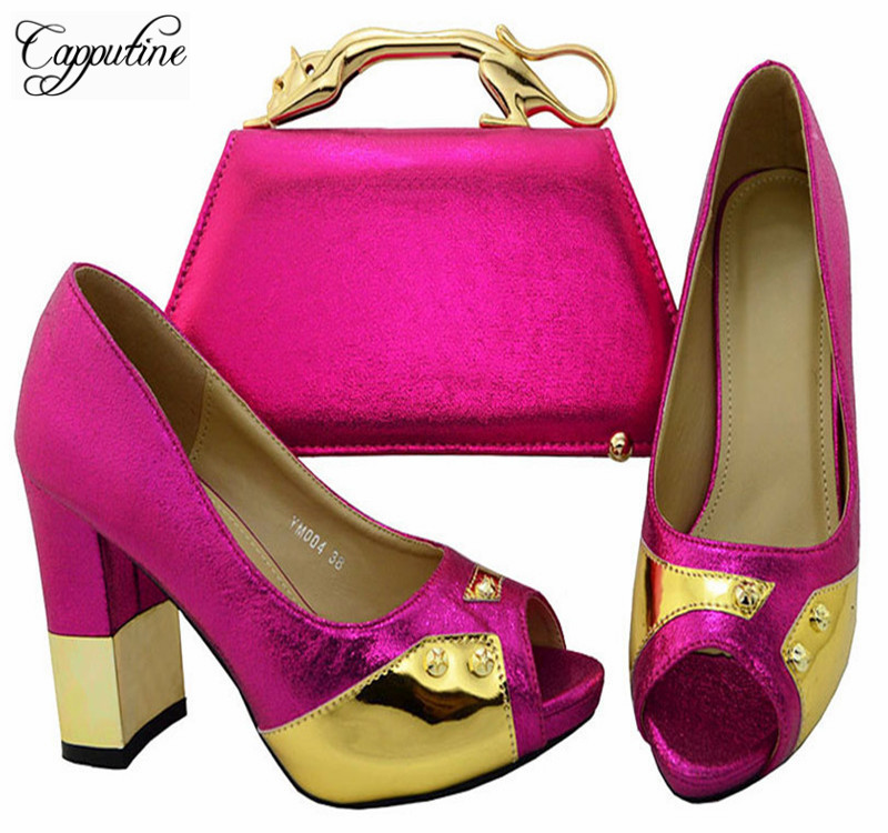 Capputine Fashion Italian Fuchsia Color Ladies Shoes And Bag Fashion Adult Sandals Heels Shoes And Bag Set Free Shipping YM0043 capputine new summer sandals woman shoes 2017 fashion african casual sandals for ladies free shipping size 37 43 abs1115