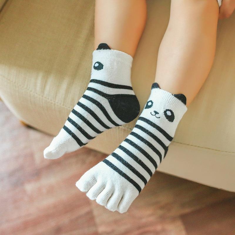 New Kawaii Panda Animal Boys Girls Socks Children Toe Socks Cute Five Finger Sock For Kids Toe Correction New Year Gifts 3-12T