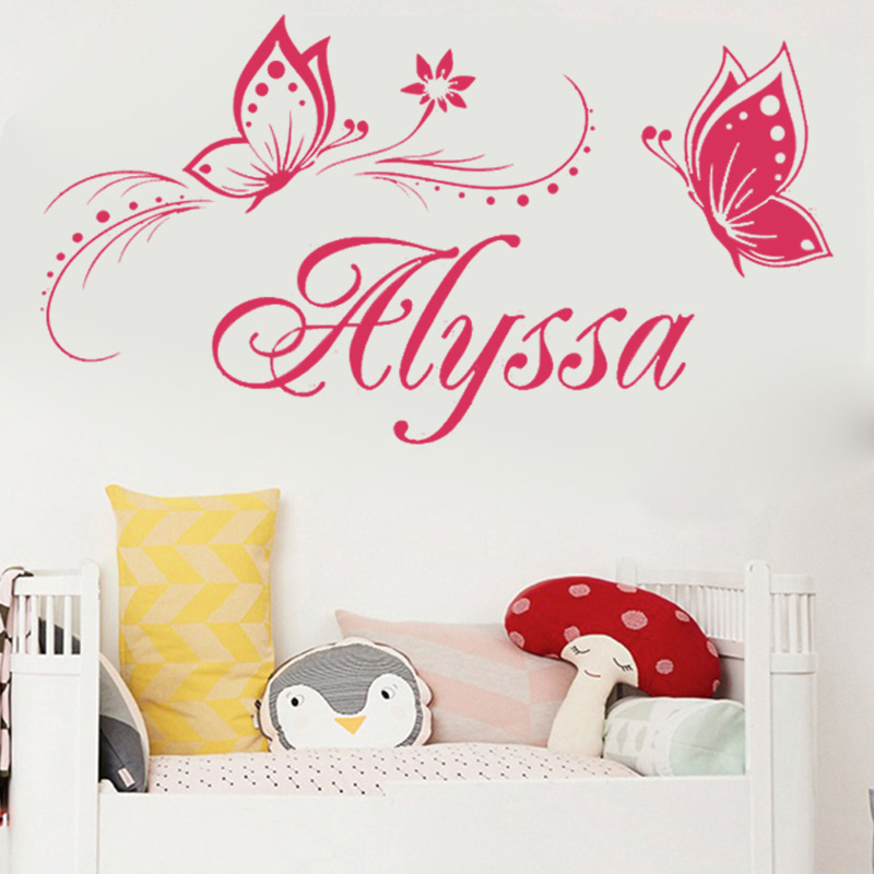 Personalized Name Butterfly Wall Stickers for Festival Kids Room Home Party Decoration Vinyl Wall Decal Art Mural Birthday Gift