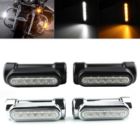 FADUIES Black/Chrome Motorcycle LED Highway Bar Switchback Driving Light/turn signal light For Harley bike Touring Victory