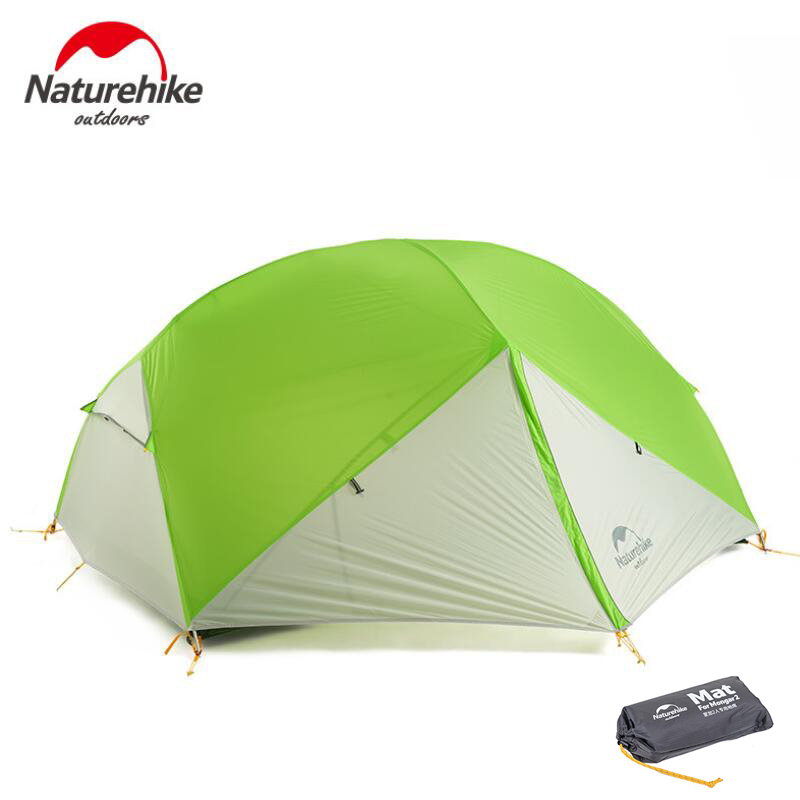 Naturehike Ultralight Camping 2 Person Tent Waterproof Double Layer Tourism Tents For Outdoor Recreation Beach With Free Mat naturehike 1 2 person camping with free mat tent double layer waterproof 3season backpacking tent ultralight for outdoor camping