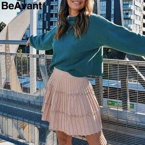 Image 3 - BeAvant plissé tricoté hiver jupes femmes une ligne à volants taille haute mini jupe femme 2019 automne rose jupes courtes dames
