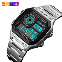 SKMEI Top Luxury Fashion Sport Watch Men 5Bar Waterproof Watches Stainless Steel Strap Digital Watch reloj hombre 1335 cheap Plastic CN(Origin) Folding Clasp with Safety Square 18mm 13mm Resin Complete Calendar Shock Resistant Week Display Water Resistant