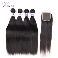 Vivace Hair Brazilian Straight Human Hair 4 Bundles 100% Hair Weaves Natural Color Remy Hair Extension 10 28 inch free shipping