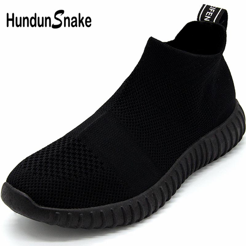 Hundunsnake Breathable Running Shoes For Women Sock Sneakers Women Sports Shoes Lady High Top Women Trainers Black Tennis B-046