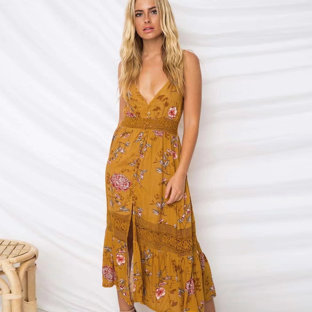 Boho Hippie Patchwork Lace Dress V-Neck Sleeveless Strap dresses 2018 Spring Summer Dress Floral Print Women Dresses