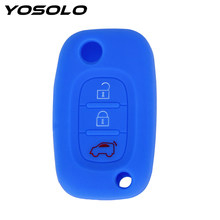YOSOLO Flip Key Shell Cover For Mercedes Benz Smart Fortwo Forfour 3 Buttons Silicone Key Protect Bag Key Case for Car(China)