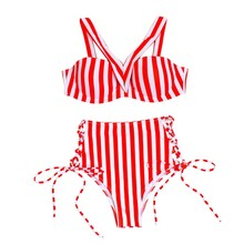 New 2019 Thong bikini swimwear Sexy Red and white stripes Print Split swimsuit swimming suit for women Bikinis white stripes bodycon swimsuit