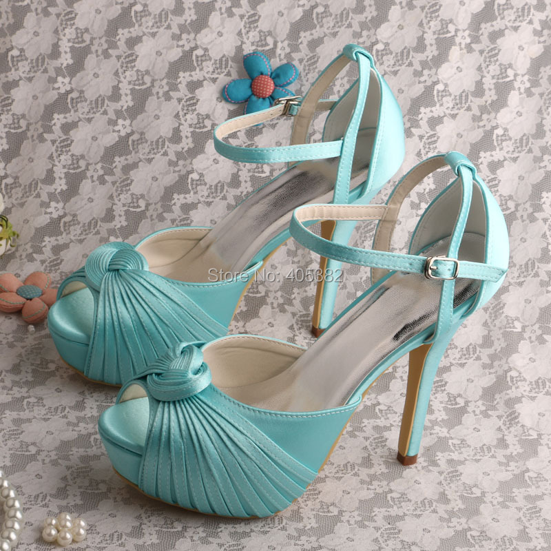 Wedopus Wedding Platform Women Heel Sandals Mint Green Satin Shoes DropshippingChina Mainland