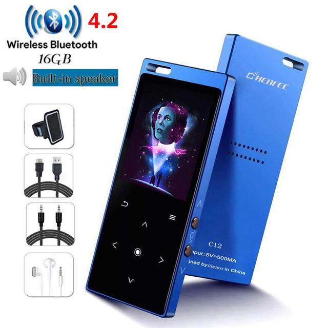 Bluetooth4.2 MP3 Player with Speaker HIFI Music Playing with fm radio video player E-book MP3 Walkman, Mini SD Up to 128GB