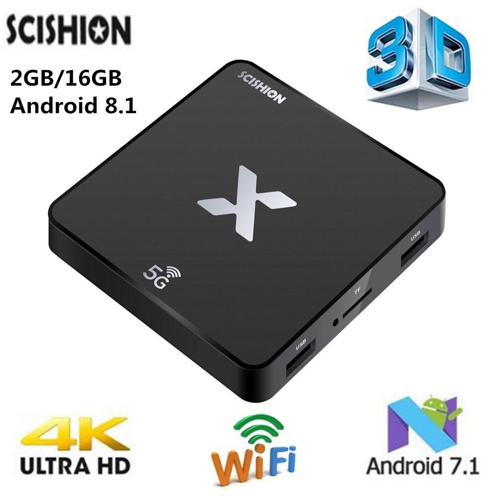 SCISHION Model X 4K Smart TV Box Android 8.1 Rockchip3229 TV Box 2GB 16GB 5G WiFi 100Mbps H.265 Set-Top Box PK MAGICSEE N5SCISHION Model X 4K Smart TV Box Android 8.1 Rockchip3229 TV Box 2GB 16GB 5G WiFi 100Mbps H.265 Set-Top Box PK MAGICSEE N5