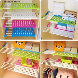 Adjustable Wardrobe partition storage rack cabinets holder organizers nail free telescopic spacer frame Clothes Kitchen rack