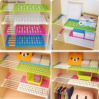 Hot Wardrobe Partition Storage Rack Cabinets Holder Organizers Nail Free Telescopic Spacer Frame Clothes Rack Kitchen