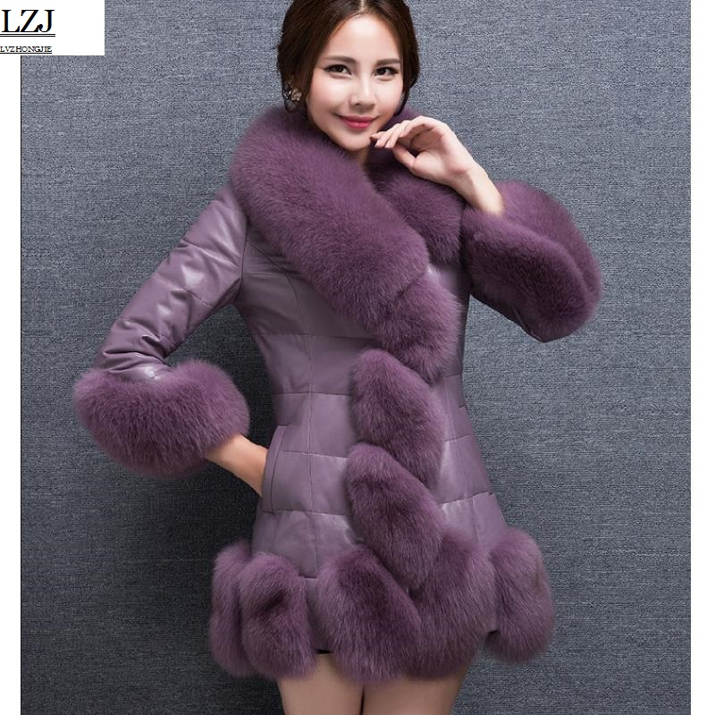 LZJ 2017 new Women Jackets Vest Fashion Autumn Winter Coat Warm Female Faux Fox Fur Vest High-Grade Slim Jacket Outerwear PC1