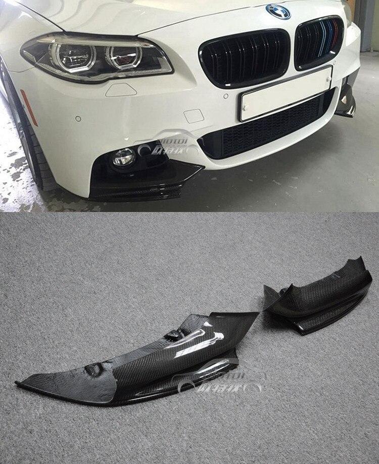 Labbro anteriore Splitter Paraurti Per BMW F10 M-TECH P Style 2 pcs In Fibra di Carbonio Auto Grembiule labbro Car Styling Angolo protezione