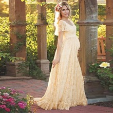 Puseky 2017 Women Dress Maternity Photography Props Lace Pregnancy Clothes Maternity Dresses For Pregnant Photo Shoot Cloth Plus(China)