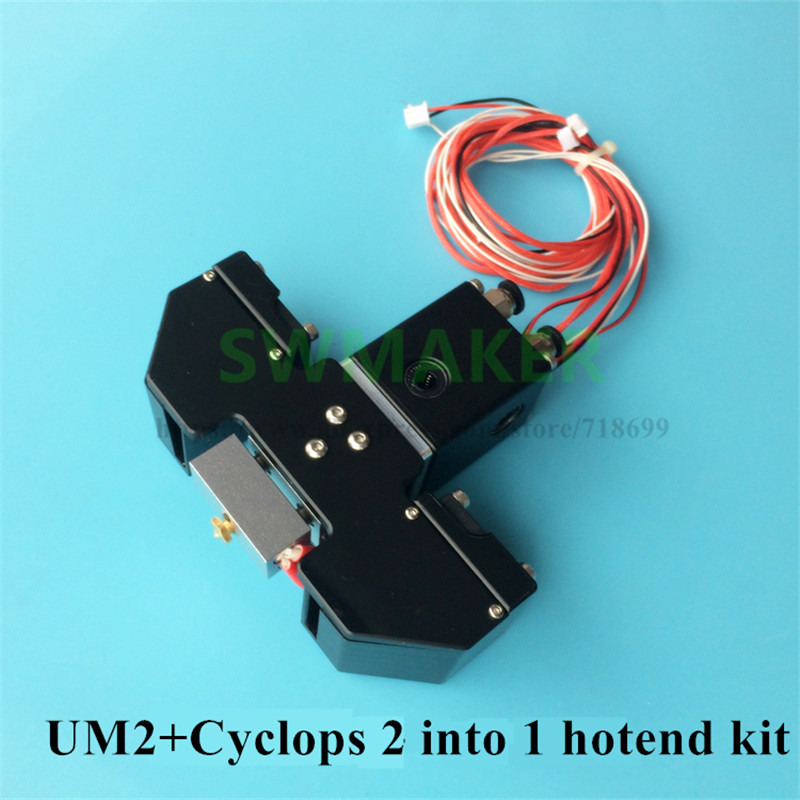 SWMAKER All metal 1.75mm Cyclops 2 in 1 out hotend printing head kit for UM2+ Ultimaker 3D printer цены