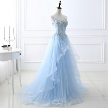 2017 New Stock Cheap Sky Blue Beaded Dresses Vestidos De Fiesta Maid of the Honor Dresses Long Fomal Evening Gowns